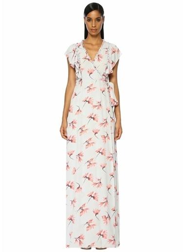 By Timo Mavi Anvelop Yaka Çiçekli Yırtmaçlı Maxi Elbise Lila
